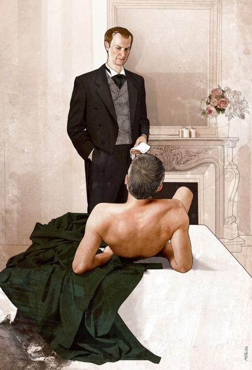 Mycroft Holmes / Gregory Lestrade / Mystrade / BBC Sherlock / sexy / naked DI / fanart / fan art