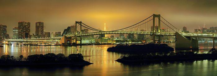 ホテル日航東京から深夜のレインボーブリッジ