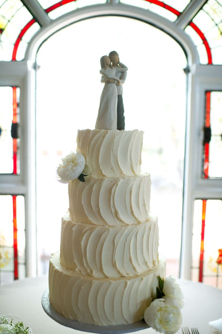simple & elegant swirled buttercream wedding cake-perfect! Even the Willow Tree cake topper!