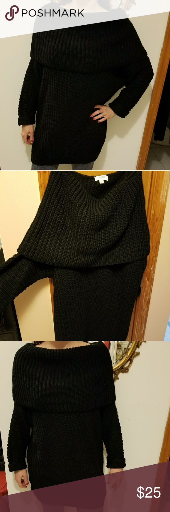 Sweater Cute and cozy chunky black sweater. Holdover top making it one shoulder or off the shoulder. Long so it covers the booty and falls on the things. So cute with leggings! New without tags. Unworn. Brand umgee. Size large, but can also fit a medium. I am 5'7 and 140 pounds and modeling it in the pic. Umgee Sweaters