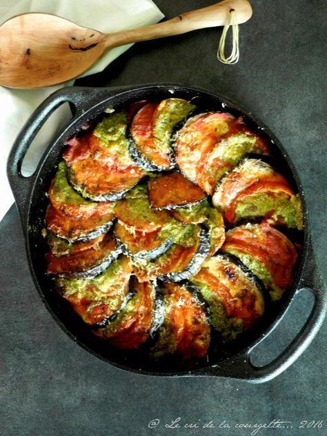 Gratin aubergine et tomate au pesto