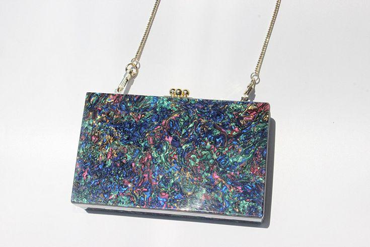 Women Colorful Pearl Clutch Messenger Bag Wallet Street Crossbody Bag