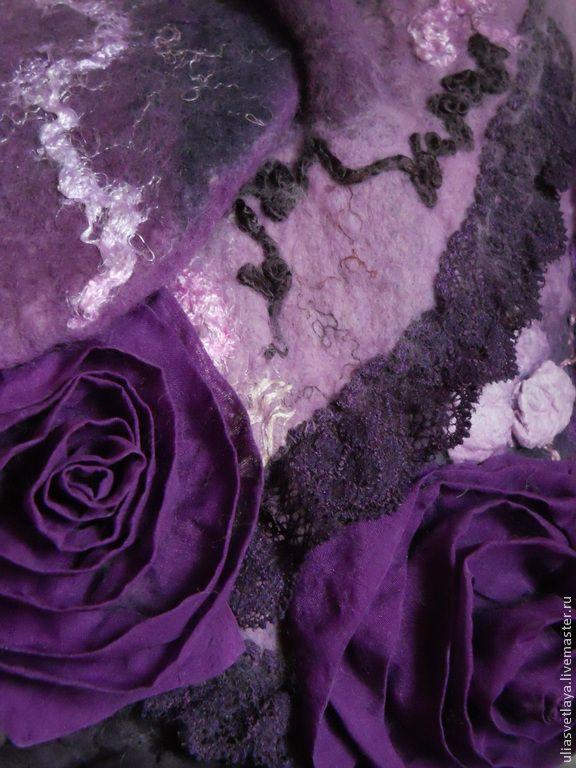 """Купить Валяная сумка Ежевичные поля - валяная сумка, войлочная сумка, сумка из шерсти, розы, buy felted bag """"Blackberries' field"""""""
