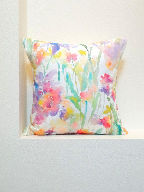 """Patch of Fleurs Watercolor Floral Pillow Covers, 18""""x18"""", Designer Floral Fabric, Watercolor Flowers Pillow Accent"""