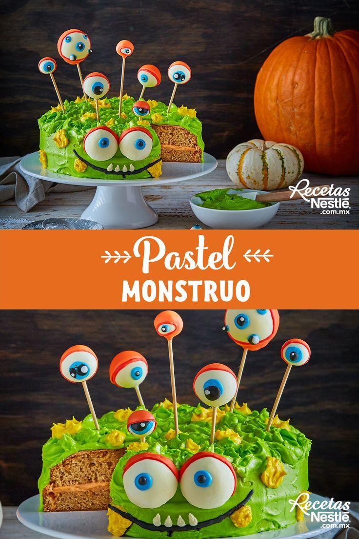 Este pastel literal se llevará todos los ojos de la #FIESTA ¡Prepara este exquisito y terrorífico #PASTEL #MONSTRUO ! Halloween, Desserts, Ideas, Biscuit, Dessert Recipes, Tailgate Desserts, Deserts, Postres, Dessert