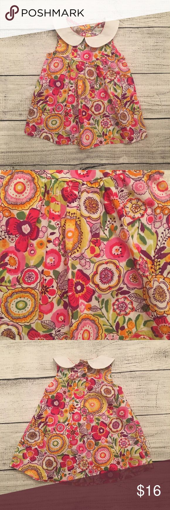 Vera Bradley Baby Bright Floral dress with Peter Pan collar. It has snaps in the back for easy on/off Vera Bradley Dresses