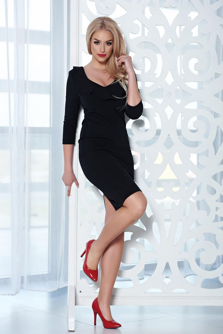 "StarShinerS elegant midi black dress with a cleavage, frilly trim around cleavage line, ""V"" cleavage, 3/4 sleeves, back zipper fastening, form-fitting, elastic cotton"