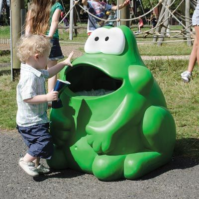 """The Froggo Novelty litter bin provides a fun, engaging way to encourage children to use waste bins. Litter is """"fed"""" into the bin characters shaped mouth, ideal for either internal or external. #GlasdonUK #AnimalShaped #Bins #Novelty"""