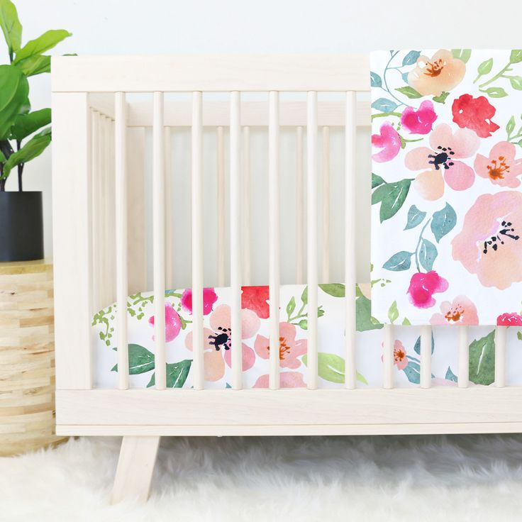 pink and peach watercolor floral baby girl crib bedding
