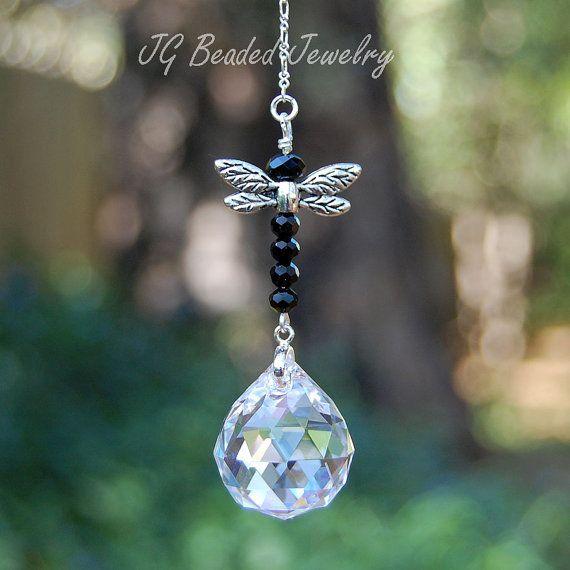 Black Dragonfly Crystal Suncatcher, Rearview Mirror Car Charm Decoration, Window Ornament, Home Decor,