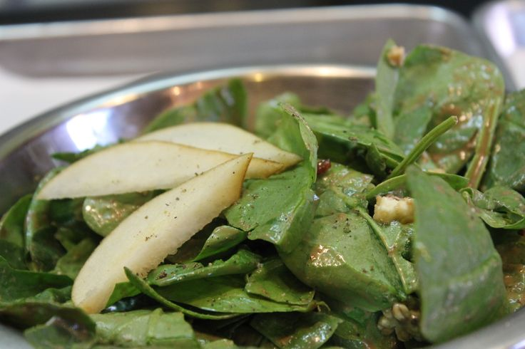 Salad- Spinach tossed with Gorgonzola cheese, candied walnuts, bacon ...
