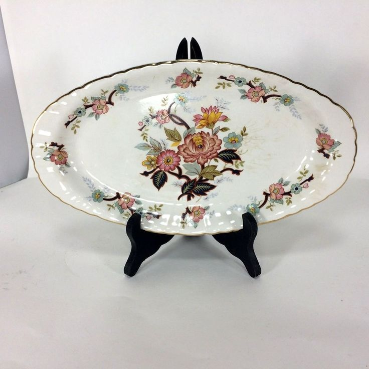 H Aynsley & Co Ltd Staffordshire Serving Plate Oval Asparagus Plate Floral VTG #AynsleyCoLtd