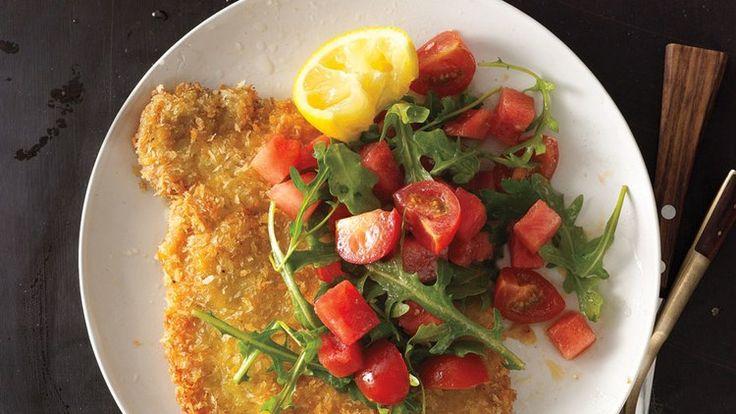 Pork Tonkatsu with Watermelon-Tomato Salad   Bon Appetit Recipe