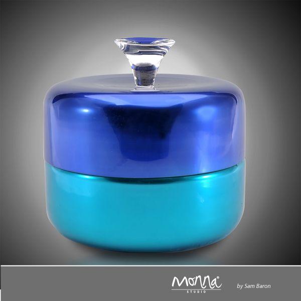 Trompette design Sam Baron  CODE : SB0208 SIZE : 20cm 8'' DESCRIPTION : Glass/Crystal Box COLOR : Night Blue&Turquoise