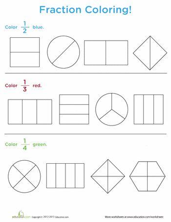 Worksheets: Fraction Coloring
