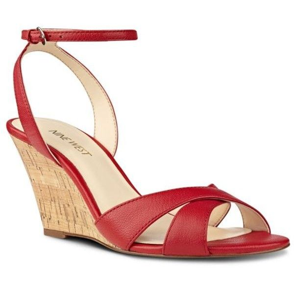 Nine West Red Kami Wedges - Women's ($89) ❤ liked on Polyvore featuring shoes, red, denim shoes, wedge heel shoes, red wedge shoes, wedge shoes and open toe shoes