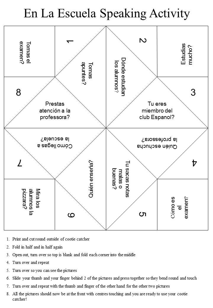 Spanish speaking activity cootie catcher https://downloadablecootiecatchers.wordpress.com/category/readers-designs/spanish-speaking-activity/ A mis estudiantes del programa de JAYS les gustaría mucho esta idea. :)