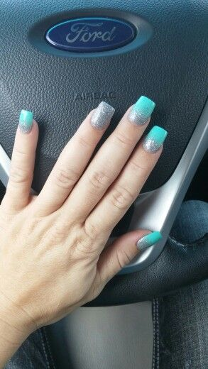 Mint green and silver glitter with silver accent nail