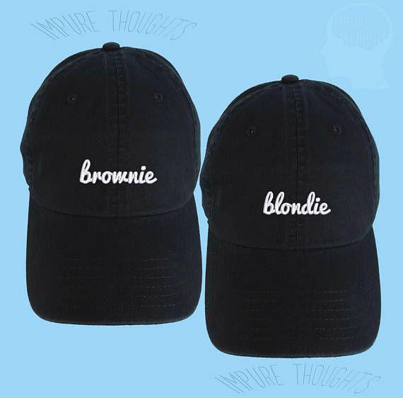 SET van 2 Brownie en Blondie papa hoeden geborduurde honkbal