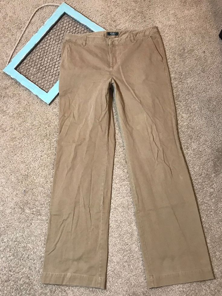 Eddie Bauer Pants Women's Vashon Fit Brown Career Work Uniform Size 14L #EddieBauer #KhakisChinos