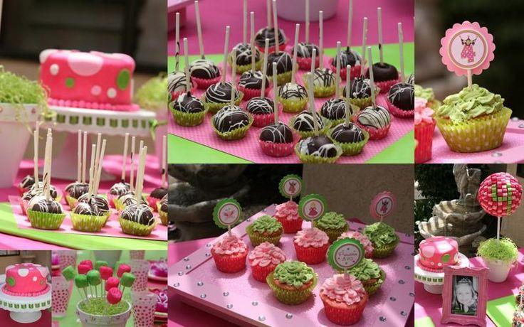 Una mesa de cumplea os en fucsia y verde mesas planners for Mesas dulces cumpleanos