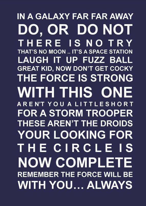Star wars quotes A3 poster typography by HarperGrace on Etsy, $27.95