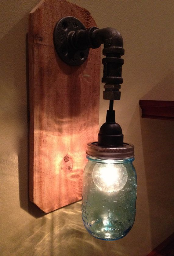 Mason Jar Wall Sconce Light Fixture by ChicagoLights on Etsy, $55.00