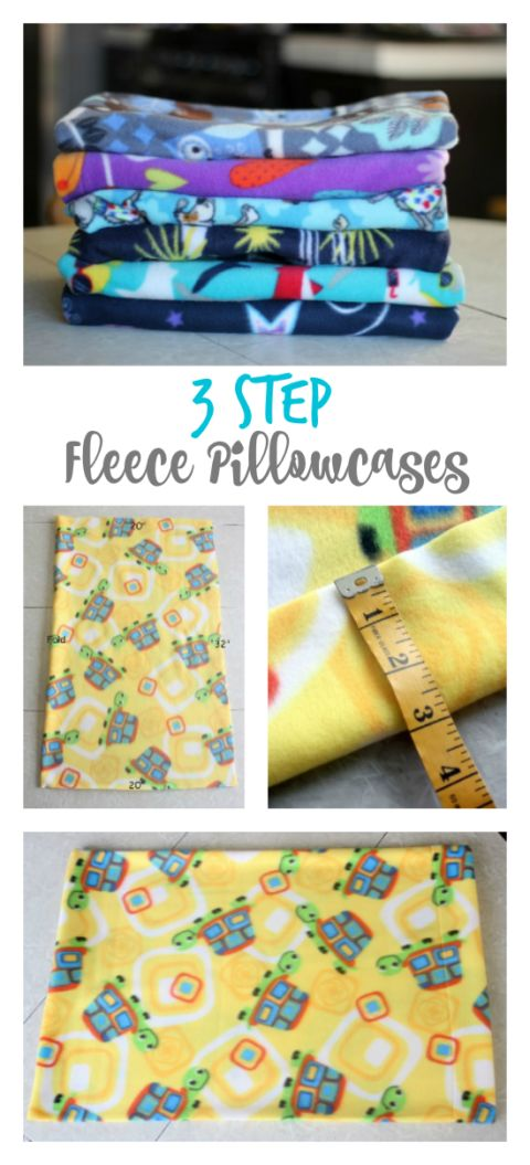 3 step fleece pillowcase tutorial