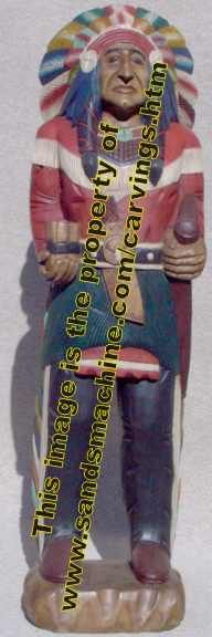 Hand Carved Cigar Store Wooden Indian