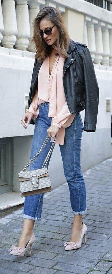 Black Biker Jacket, Blush Pink Tomantic Blouse, Crop Denim, Gucci bag, Blush Bowed Pointy Stilettos  Lady Addict