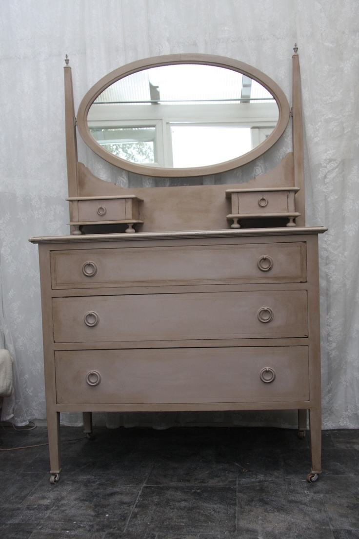 Edwardian dressing table , Annie Sloan coco mixed with old white , clear then dark wax