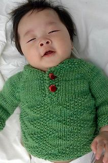 Free baby sweater- Mossy by Jolene Lye - partial pull over with buttons