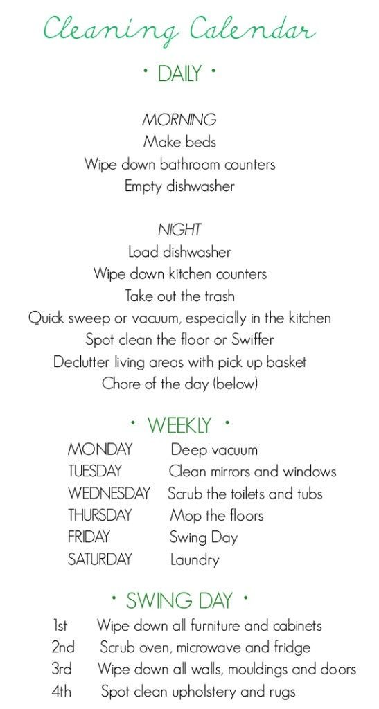 New Year's Organization, Take 3! Cleaning calendar – perfect calendar for organization @ Home Remodeling Ideas