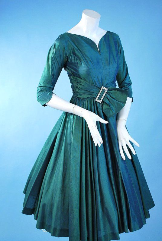 Vintage 1950 Iridescent peacock green and violet silk party dress