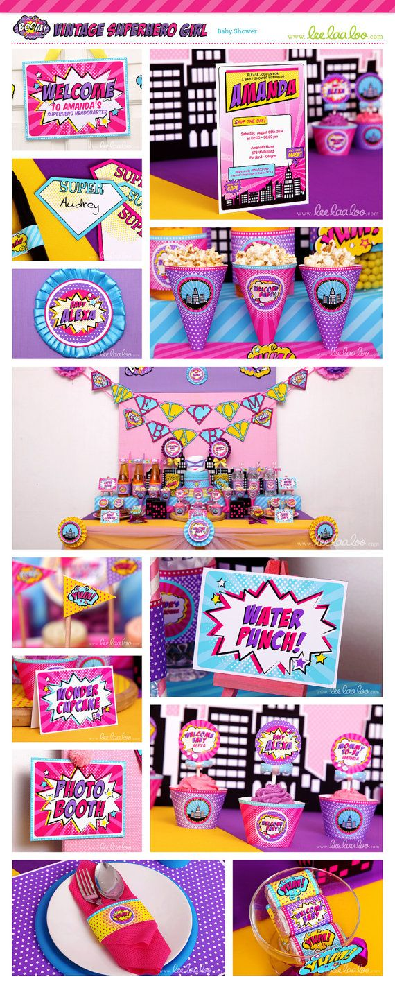 Superhero Girl Baby Shower Party Theme ♥  Designs & Party Styling by LeeLaaLoo ♥  Shop Here: https://www.etsy.com/shop/LeeLaaLoo/search?search_query=s31&order=date_desc&view_type=gallery&ref=shop_search