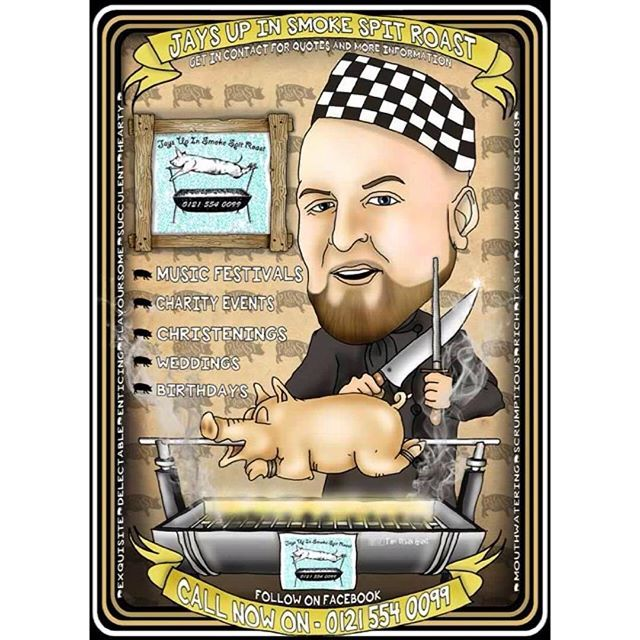 Latest caricatures - business advertisement illustration. Jays Up In smoke Spit Roast. #healthy #slimmingworld #tastyfood #awesome #euntrapanuer #business #greatproduct #tastyproduct #spices #spice #owner #magician #caricature #art #instaart #illustration #butchers #hog #hogroast #spitroast #chef #pig #pork #stuffing #crackling #boldmere #suttoncoldfield #streetly #greatfood #tastyfood #bbq  Yummery - best recipes. Follow Us! #tastyfood