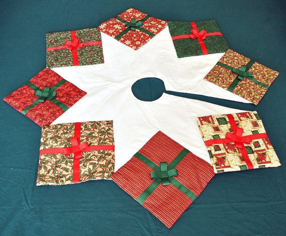 Christmas Tree Skirt Quilted Presents Holiday by knitonestitchtoo