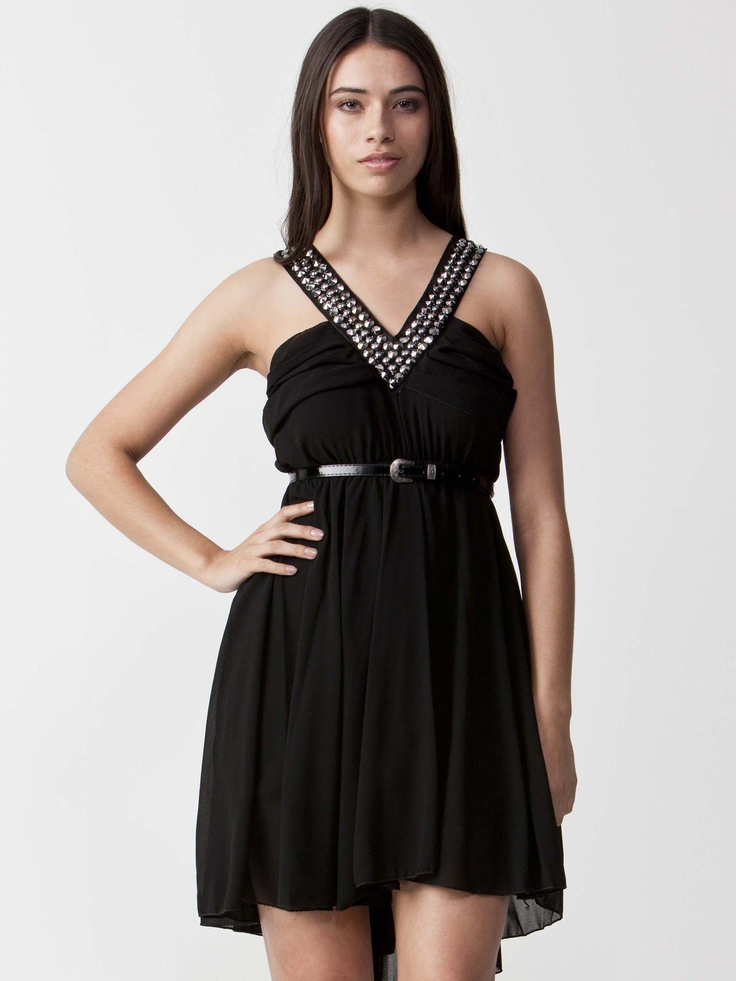 Victoria With Belt - Angelic Short Dress with chiffon skirt. Belt included.  Featuring a V-neckline and cutaway shoulders.  Hidden zip fastening with sparkling jewels. $82.50