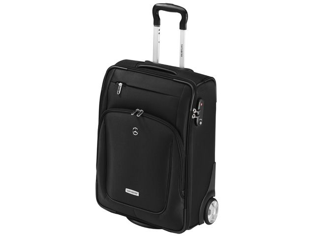 Suitcase. Black X'ion fabric (nylon/polyester). Solana Upright wheels. Laptop compartment for laptops up to 43.9 cm (17.3 inches). Separate compartment for clothing. Combination lock with TSA function. Cabin ready dimensions. Size: 39.5 x 50.5 x 21.5 cm. Capacity: 32 litres. Weight: 3.16 kg. Silver-coloured star logo stud. Silver-coloured Samsonite badge. By Samsonite for Mercedes-Benz.