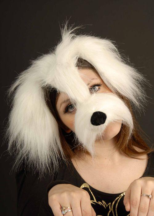 White Shaggy Dog Mask On Headband