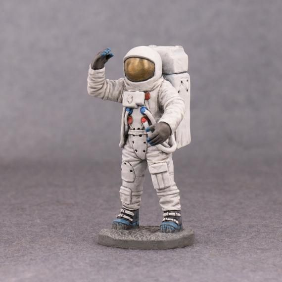 "Two Apollo Lunar Moon Astronauts 1 1//2/"" Tall Astronaut Figures."