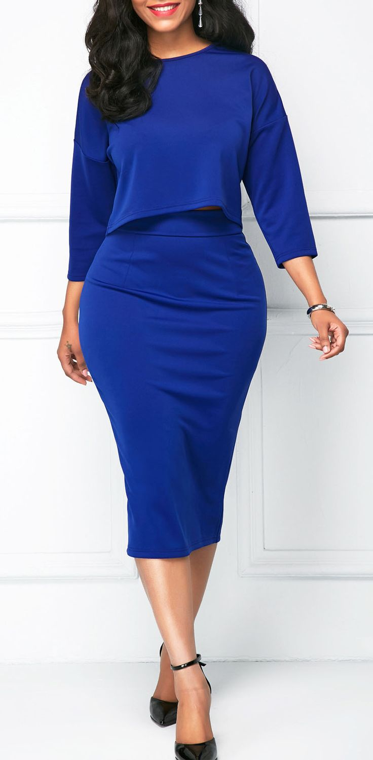 Round Neck Royal Blue Top and Skinny Skirt