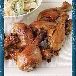 Soy-glazed chicken kebabs