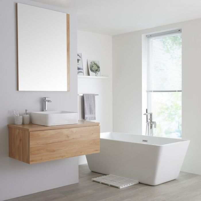 Milano Oxley Golden Oak 1000mm Wall Hung Vanity Unit With Countertop Basin Wall Hung Vanity Wall Hung Vanity Unit Countertop Basin Bathroom modern vanity units milano