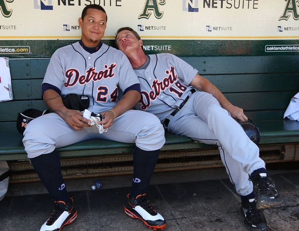 Andy Van Slyke with Miguel Cabrera Photo - Detroit Tigers v Oakland Athletics