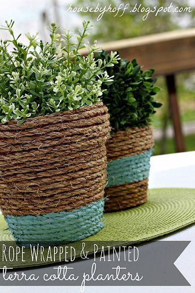 Rope-Wrapped & Painted Pots! :: Hometalk