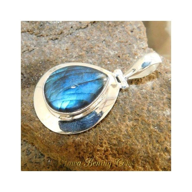 Liontin Wanita Silver 925 Batu Mulia Labradorite Artistik