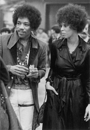 """Jimi Hendrix and best friend Devon Wilson, 1970. He wrote two famous songs about her - """"Dolly Dagger"""" and """"Doriela de Fontaine"""". Though originally part of his groupie entourage, they became intimate and she became a trusted friend for the rest of his life. She was also intimate with Mick Jagger and other members of the Rollin Stones, plus a number of other famous rock performers during the 1960's."""