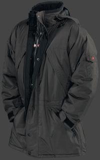 Modell/Material: Brandungsparka - 04, Farbe: black, Funktionen: wasserdicht, winddicht, atmungsaktiv, Nähte verschweißt, kälteflexibel. Ein klassischer, lang geschnittener, wind- und wasserdichter Winterparka mit vielen Taschen und funktionalen Details.