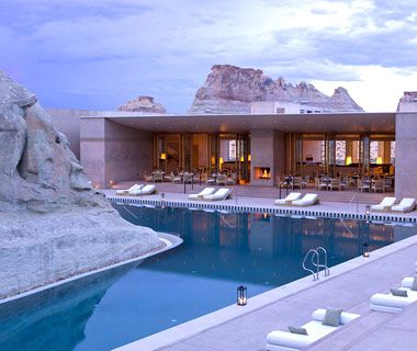 Amangiri Utah Pool  Lake Powell, UT    Why It's Cool: Deep in the desert canyons of Utah, this new luxe resort (opened October 15, 2009) embraces the surrounding environment with a pool that's ingeniously built around a large, natural rock formation. Swimmers can float around the main Pavilion while gazing at undulating layers of the Grand Staircase-Escalante National Monument.